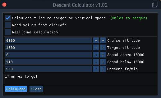 Descent Calculator